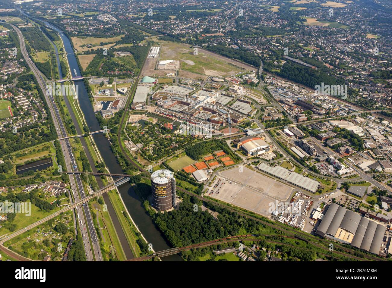 shopping centre CentrO in Oberhausen and Gasometer, 24.07.2012, aerial view, Germany, North Rhine-Westphalia, Ruhr Area, Oberhausen Stock Photo