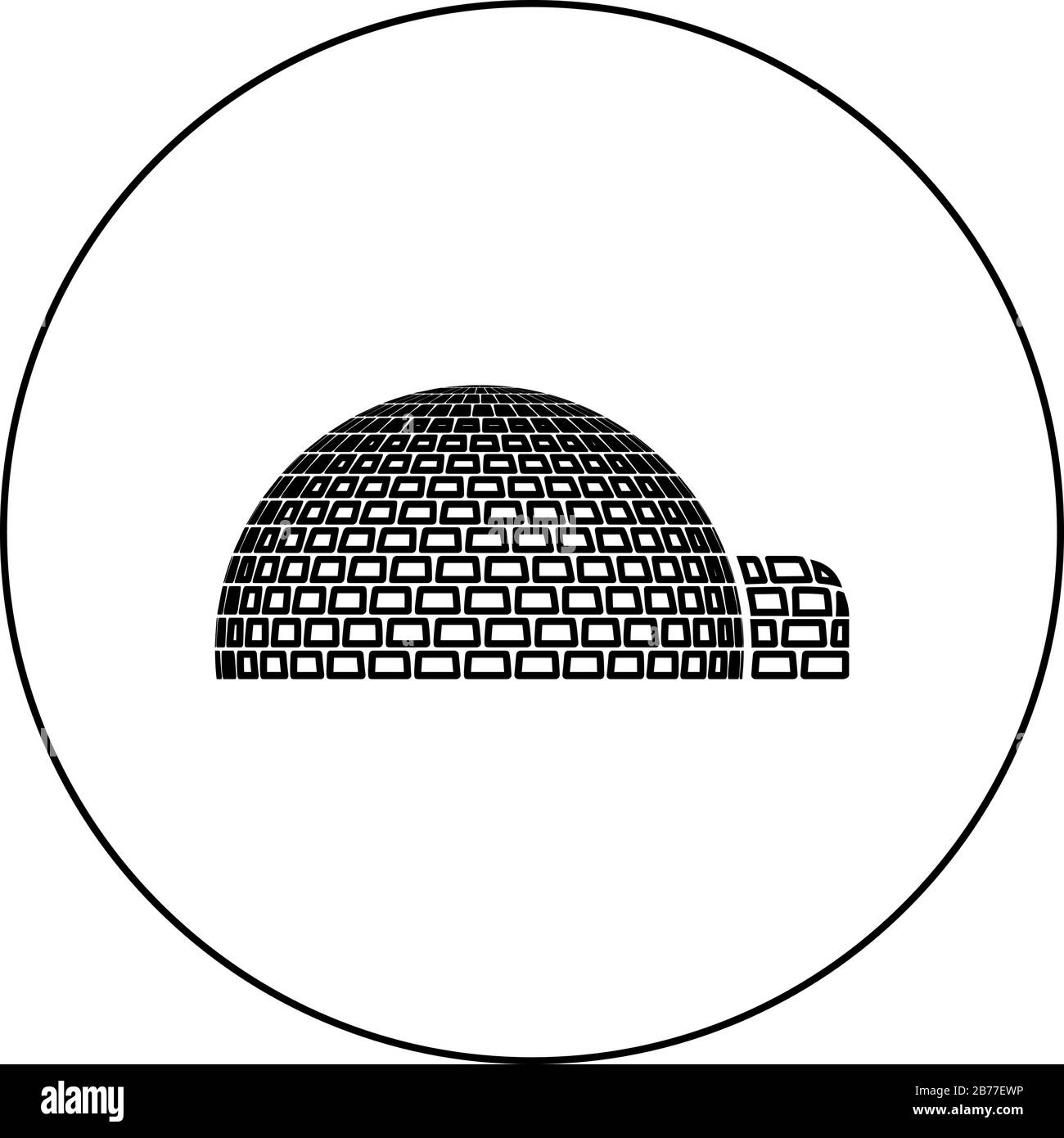Igloo dwelling with icy cubes blocks Place when live inuits and eskimos Arctic home Dome shape icon in circle round outline black color vector Stock Vector