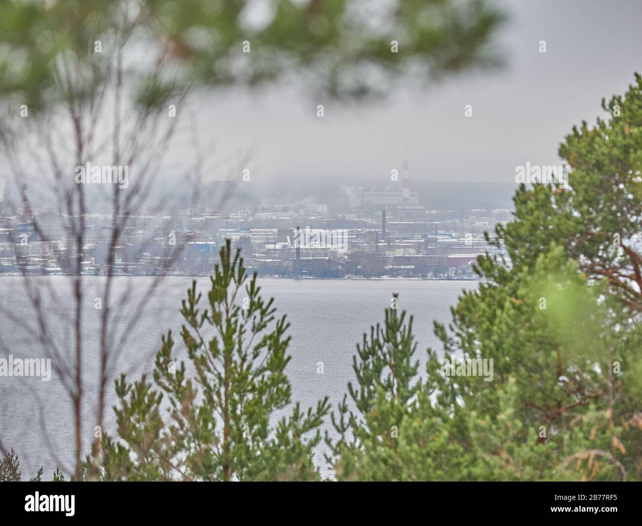 city on the opposite side of the lake. Petrozavodsk. Russia Stock ...
