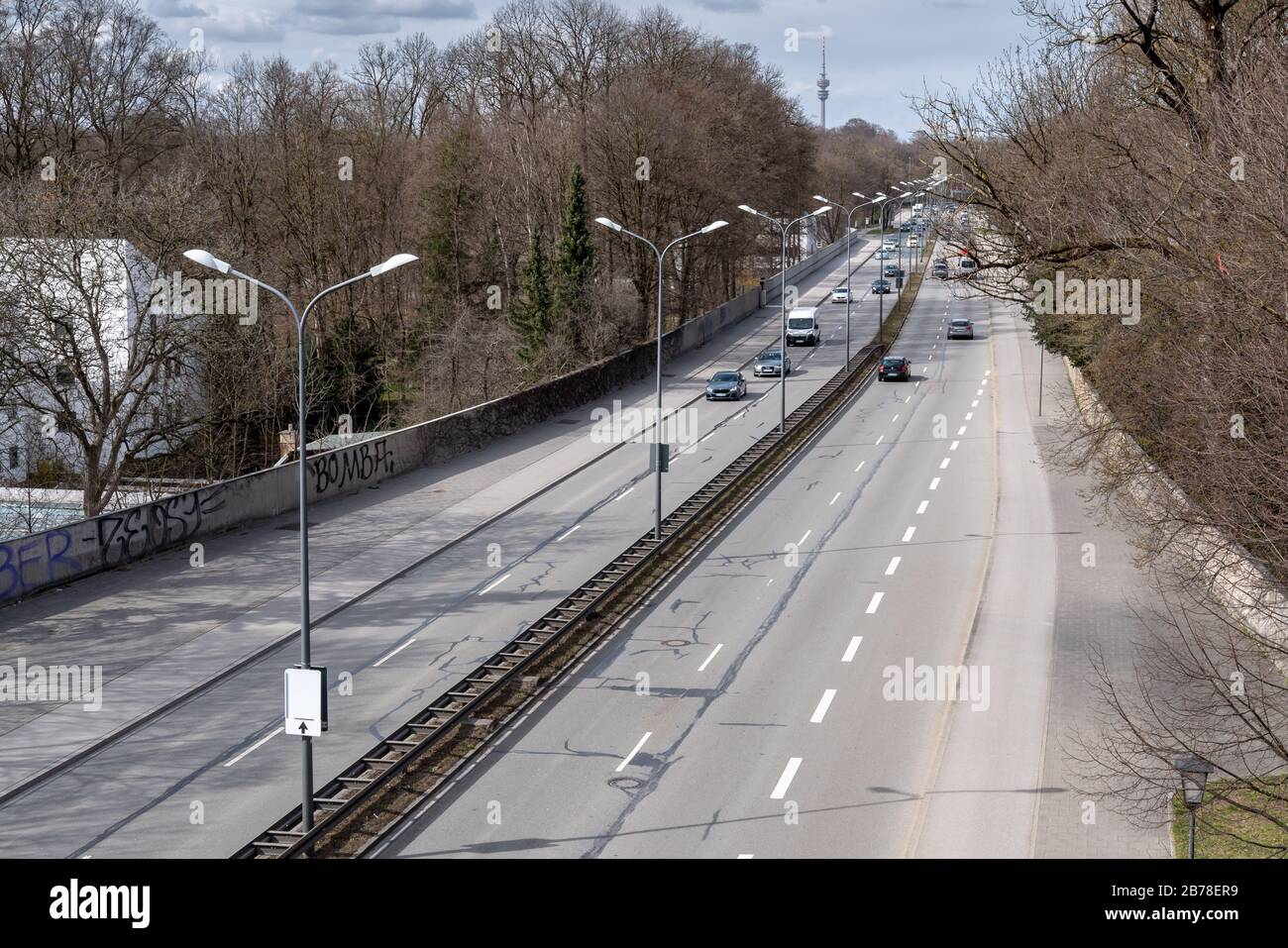Munich, Germany. 14th Mar, 2020. Quiet traffic prevails on the middle ring road of the Bavarian state capital. Credit: Peter Kneffel/dpa/Alamy Live News Stock Photo