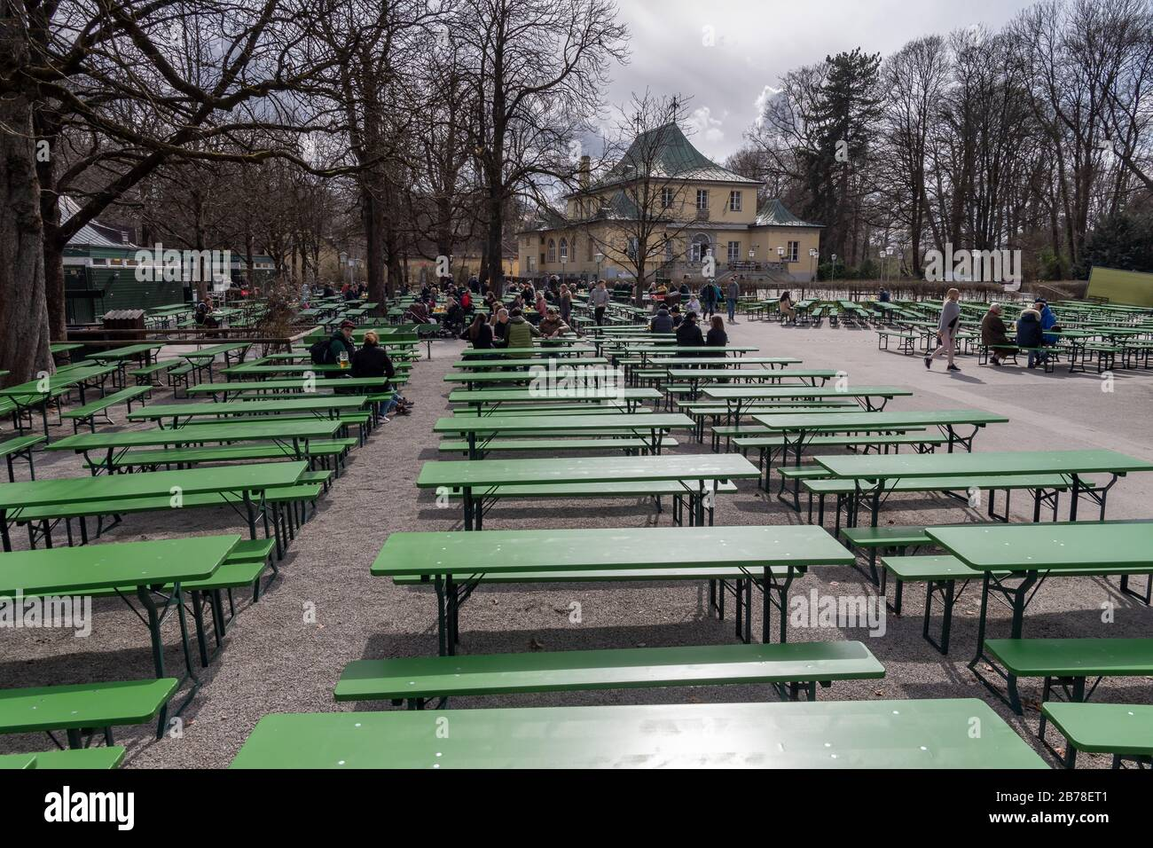Munich, Germany. 14th Mar, 2020. There are still many free beer benches in the beer garden at the Chinese Tower in the English Garden. Credit: Peter Kneffel/dpa/Alamy Live News Stock Photo