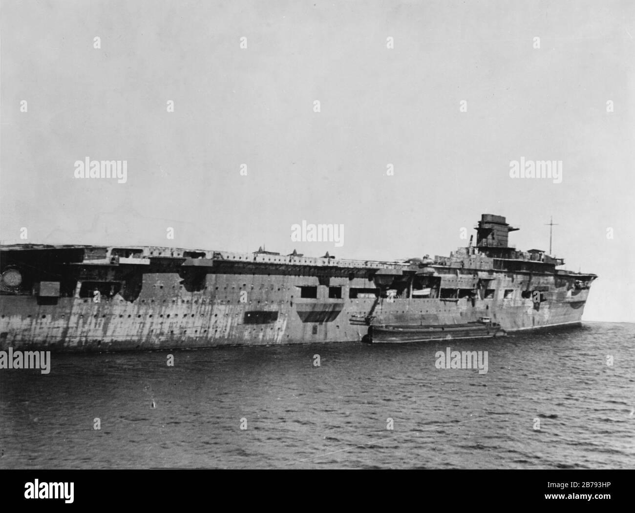 German aircraft carrier Graf Zeppelin at Swinemünde on 5 April 1947. Stock Photo