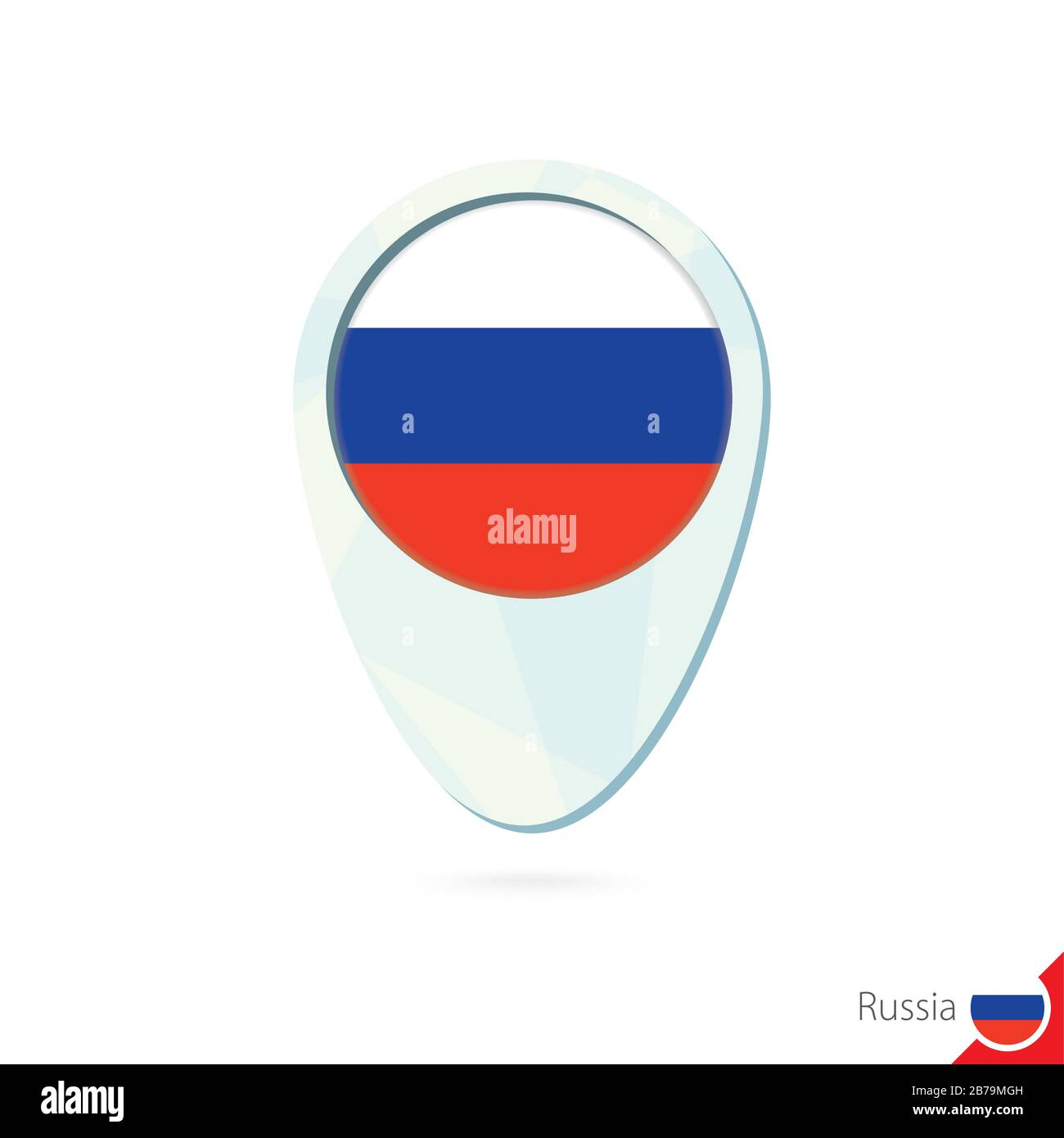 Russia flag location map pin icon on white background. Vector Illustration. Stock Vector