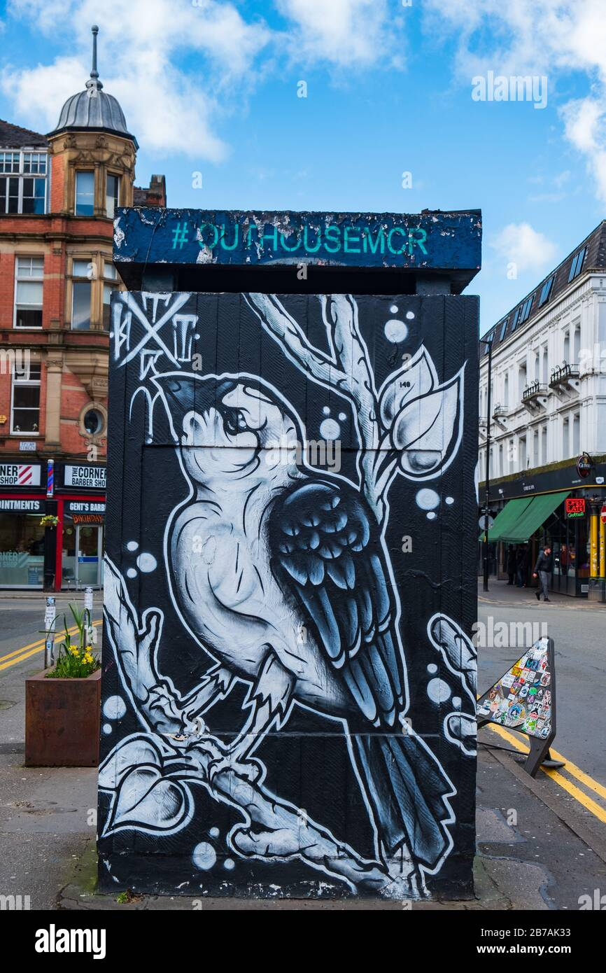 Manchester, United Kingdom - March 1, 2020: View of OUT HOUSE, a new outdoor space for public street art in Stevenson Square in the Northern Quarter o Stock Photo