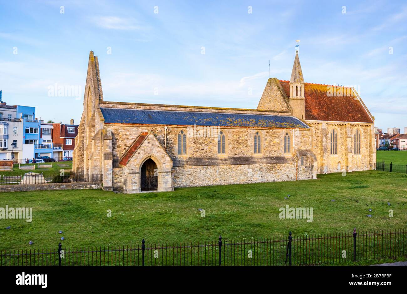 Roofless ruin of Royal Garrison Church, damaged by German bombing in the Second World War Blitz, Old Portsmouth, Hampshire, south coast England Stock Photo