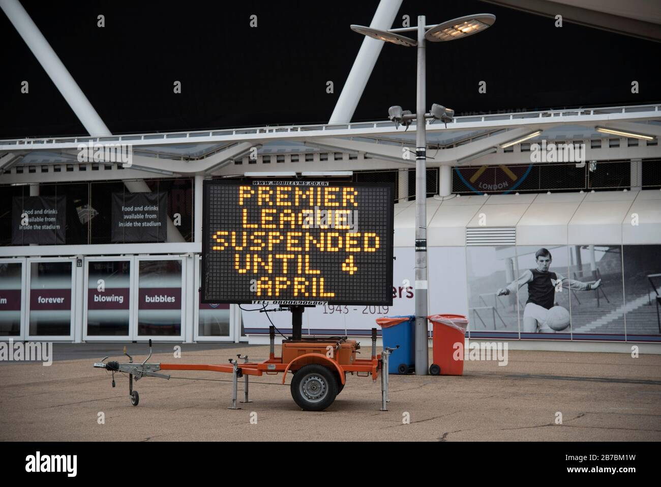 London, UK. 14th Mar, 2020. General view of West Ham United football club in London, UK on March 14, 2020. All Premier League matches are postponed until at least April 3, due to the Coronavirus (Covid-19) pandemic. 10 people in the UK have died in the last 24 hours from Covid- 19, bringing the number of deaths to 21. Mass gatherings could be banned in the UK from as early as next weekend as the outbreak of coronavirus intensifies. (Photo by Claire Doherty/Sipa USA) Credit: Sipa USA/Alamy Live News Stock Photo