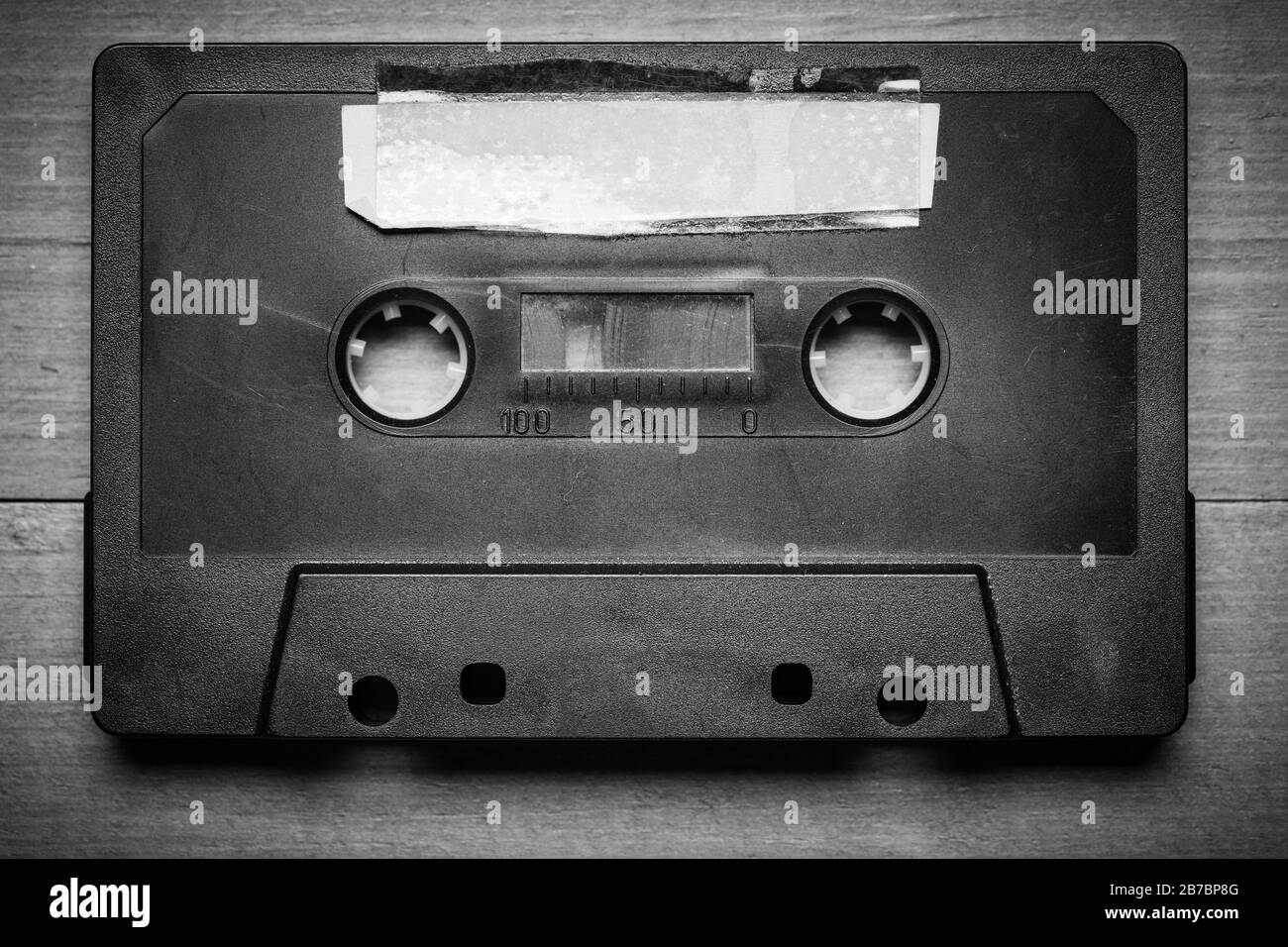 Vintage Cassette tape on a wood background with copy space Stock Photo
