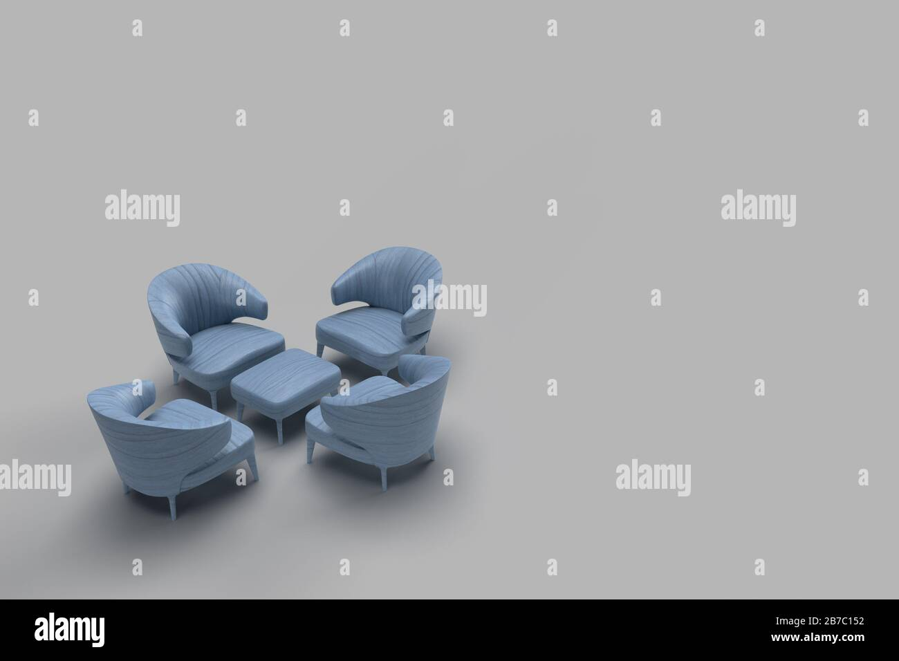 Picture of: 3d Render Of Blue Leather Coated Single Sofa Facing Each Other With Center Table In Grey Background Meeting Concept With Space For Text Stock Photo Alamy