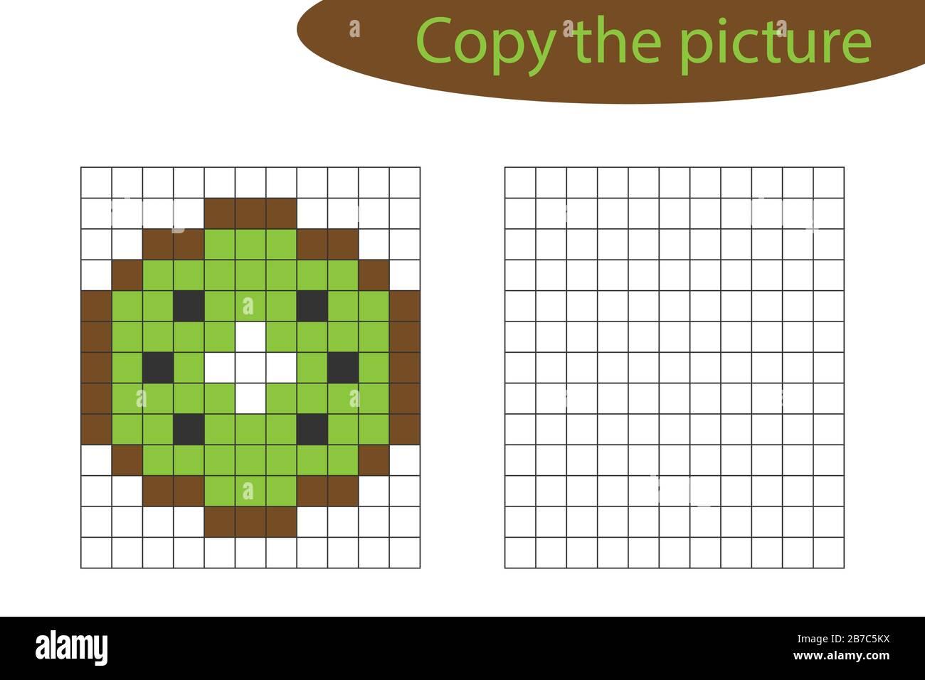 Copy The Picture Pixel Art Kiwi Cartoon Drawing Skills Training Educational Paper Game For The Development Of Children Kids Preschool Activity Stock Vector Image Art Alamy