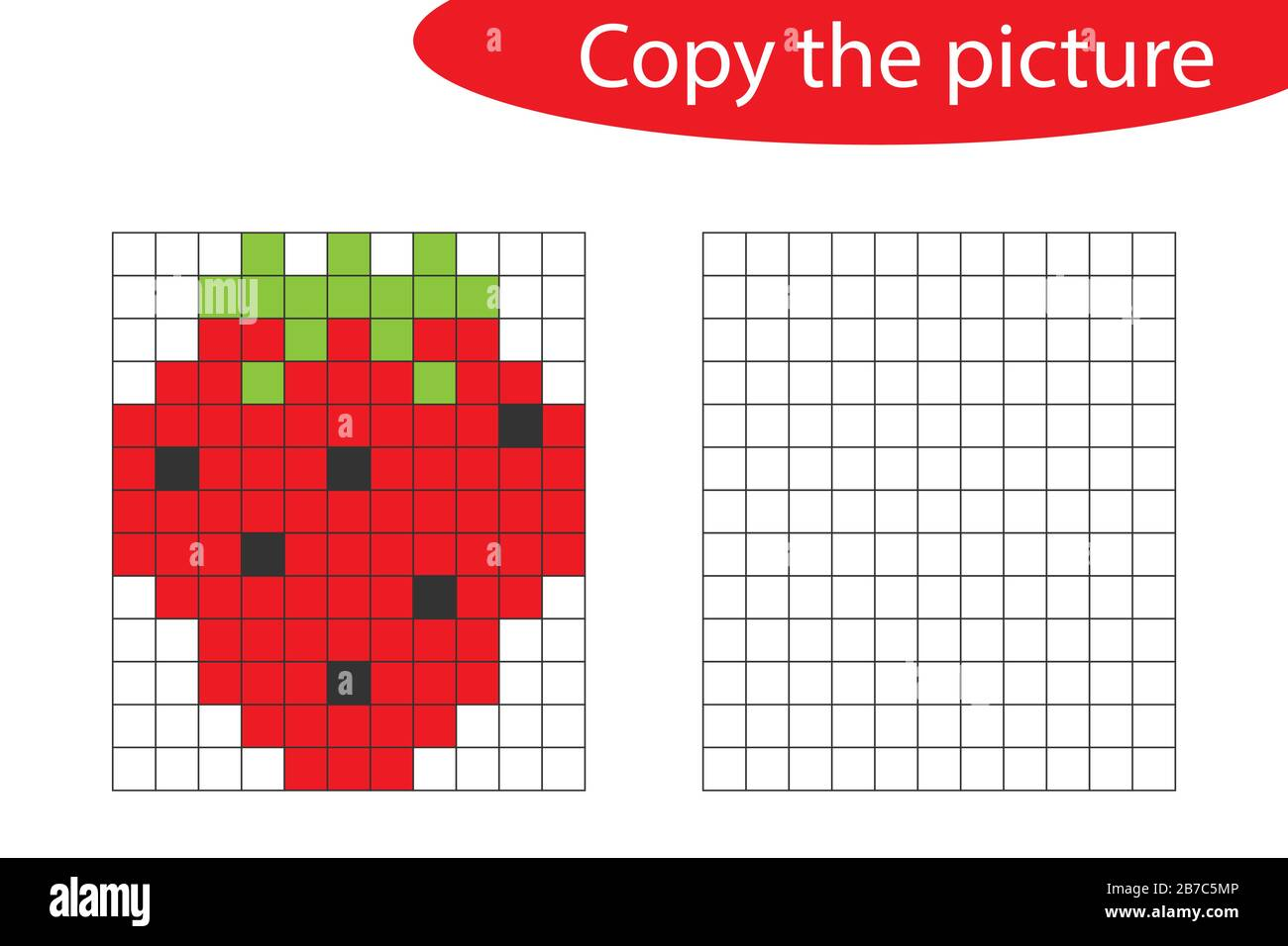 Copy The Picture Pixel Art Strawberry Cartoon Drawing Skills Training Educational Paper Game For The Development Of Children Kids Preschool Stock Vector Image Art Alamy