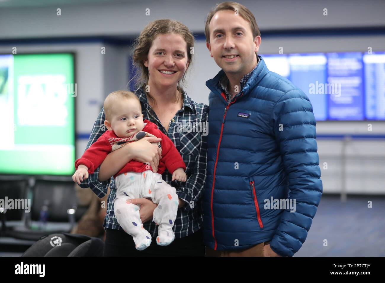Samantha Harvey Baby Finnan Macdiarmada And Oisin Macdiarmada Waiting For A United Airlines Flight Out Of Washington Dc As The Us Includes The Uk And Ireland In Its 30 Day Covid 19 Travel
