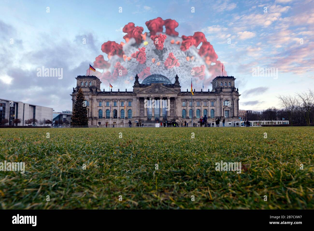 Berlin, Germany. 05th Mar, 2020. Corona virus at the German Bundestag in the government district (using a CDC corona graphic released under Public Domain) Credit: Geisler-Fotopress GmbH/Alamy Live News Stock Photo