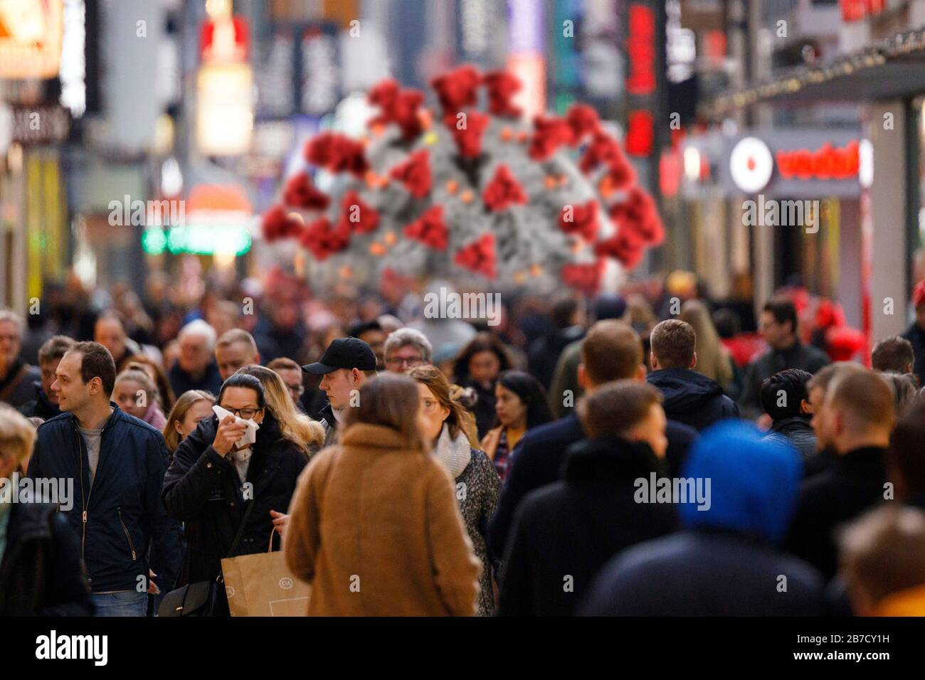 Corona cases in the population are increasing in North Rhine-Westphalia - in the picture the Cologne High Street (using a graphic from the CDC released under public domain). Stock Photo