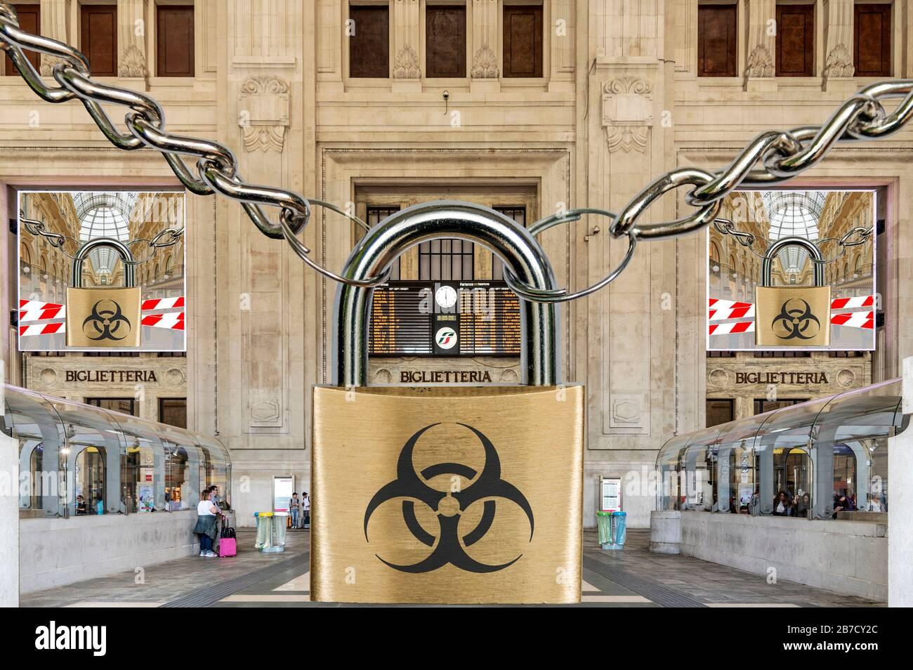 Montage: Italy blocked due to corona virus Stock Photo