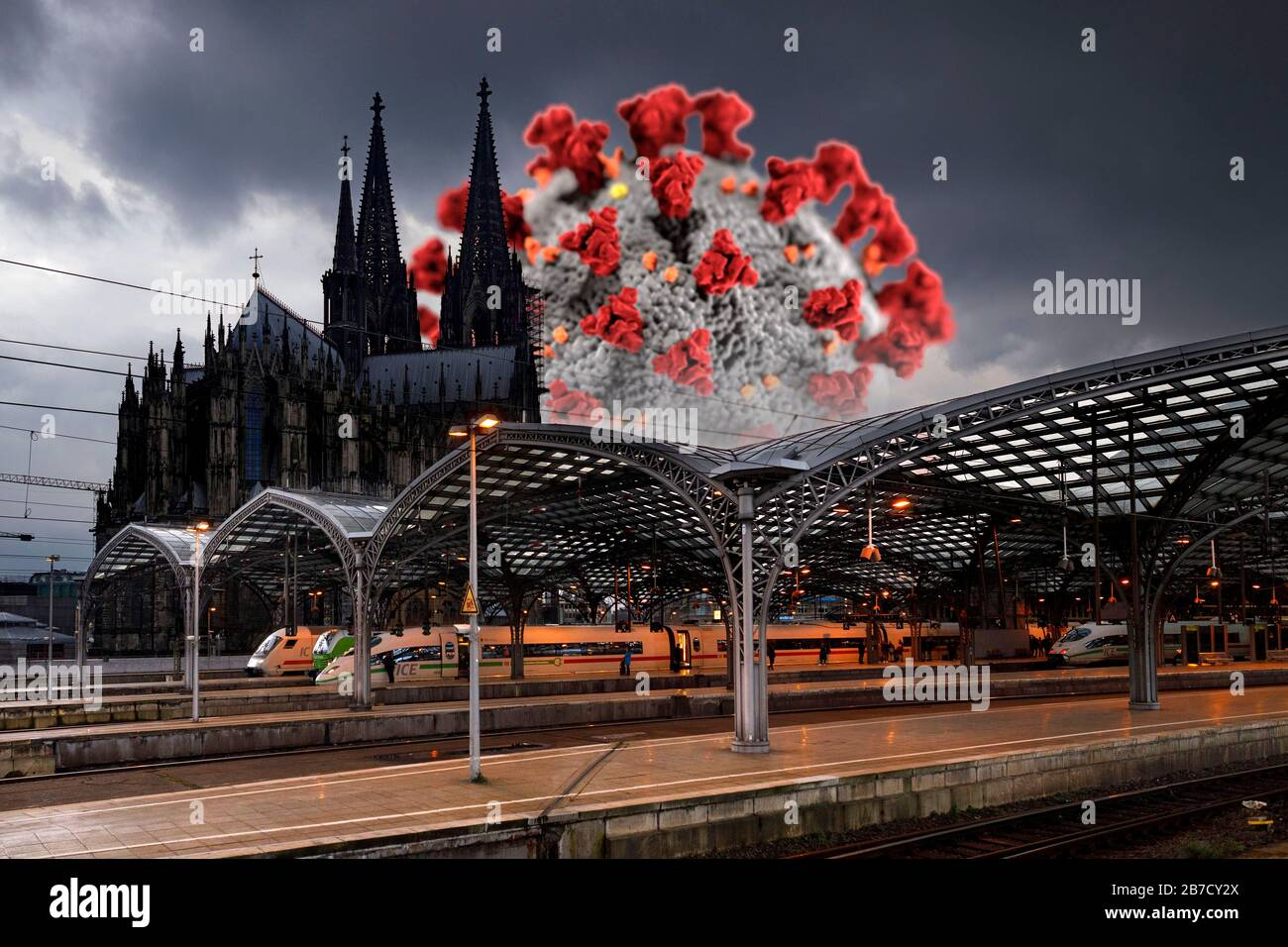Corona cases in the population are increasing in North Rhine-Westphalia - in the picture the Cologne main station with cathedral (using a graphic from the CDC released under public domain). Stock Photo