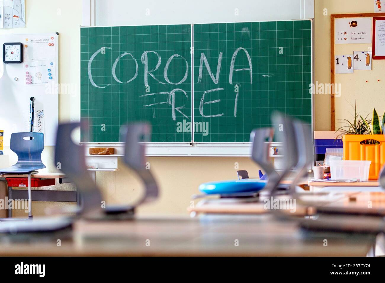 Corona-free at a school in Südstadt Cologne (Germany) Stock Photo