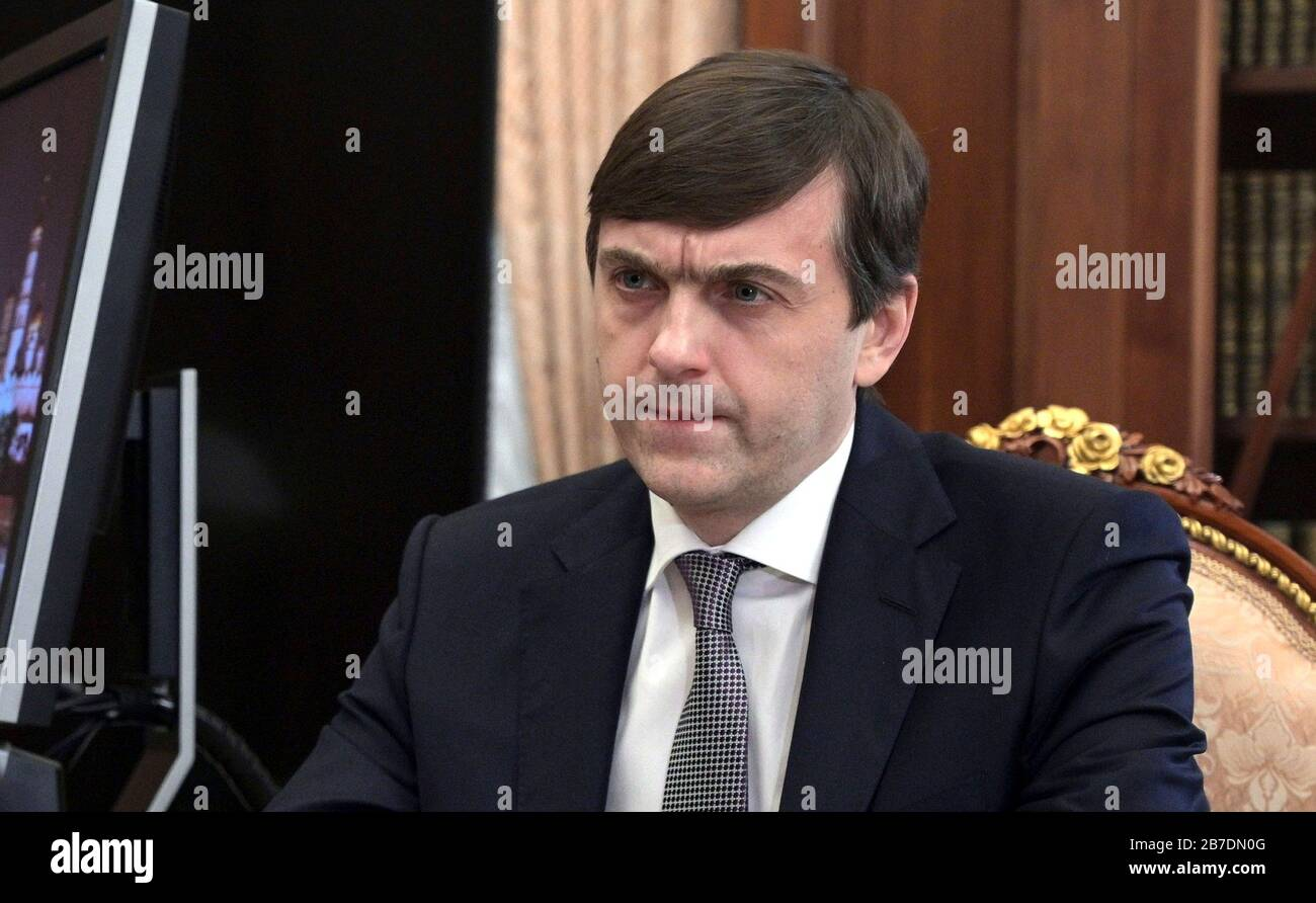 Russian Education Sergei Kravtsov During A Meeting With President Vladimir Putin At The Kremlin March 12 2020 In Moscow Russia Stock Photo Alamy