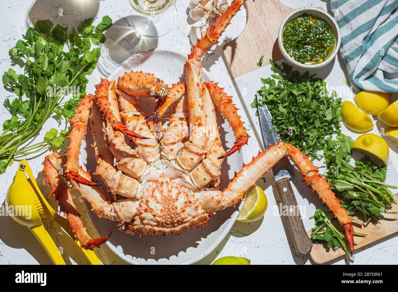King Crab with herb lemon sauce and ...