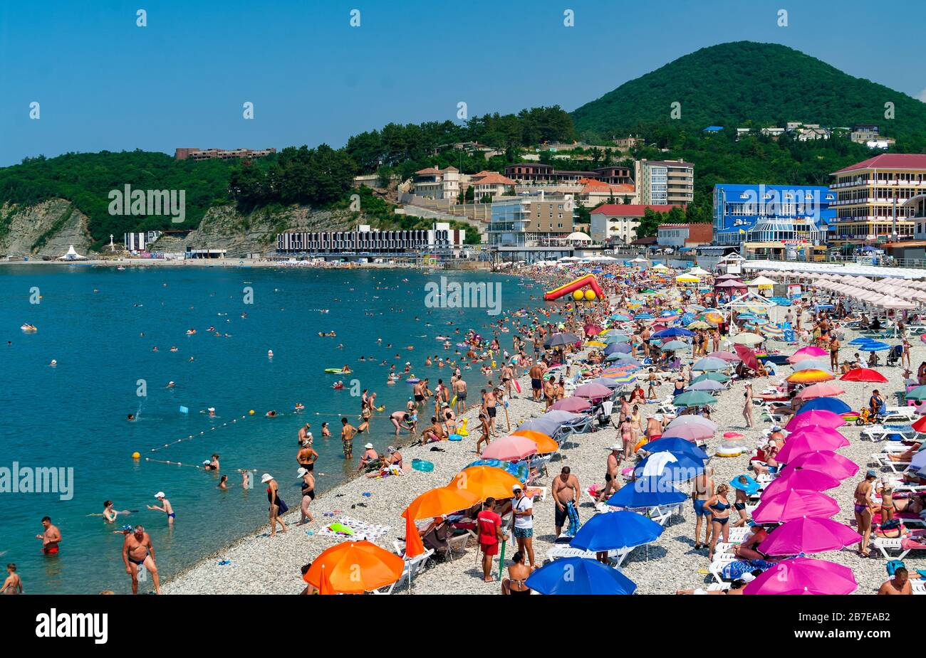 Crowds Of Bathers On The Beach At Black Sea Olginka Krasnodar Krai Russia Stock Photo Alamy