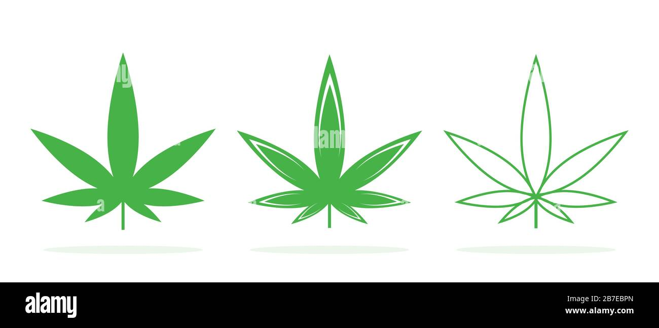 Set Of Vector Cannabis Icons Cannabis Leaf Logo Green Medical Marijuana Leaves Isolated Stock Vector Image Art Alamy
