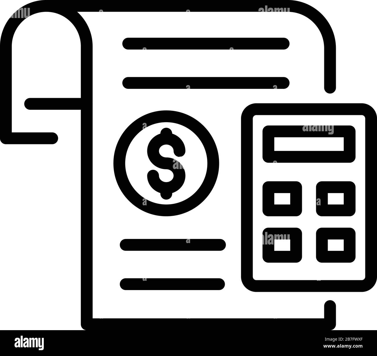 Finance Calculator Paper Icon Outline Style Stock Vector Image Art Alamy