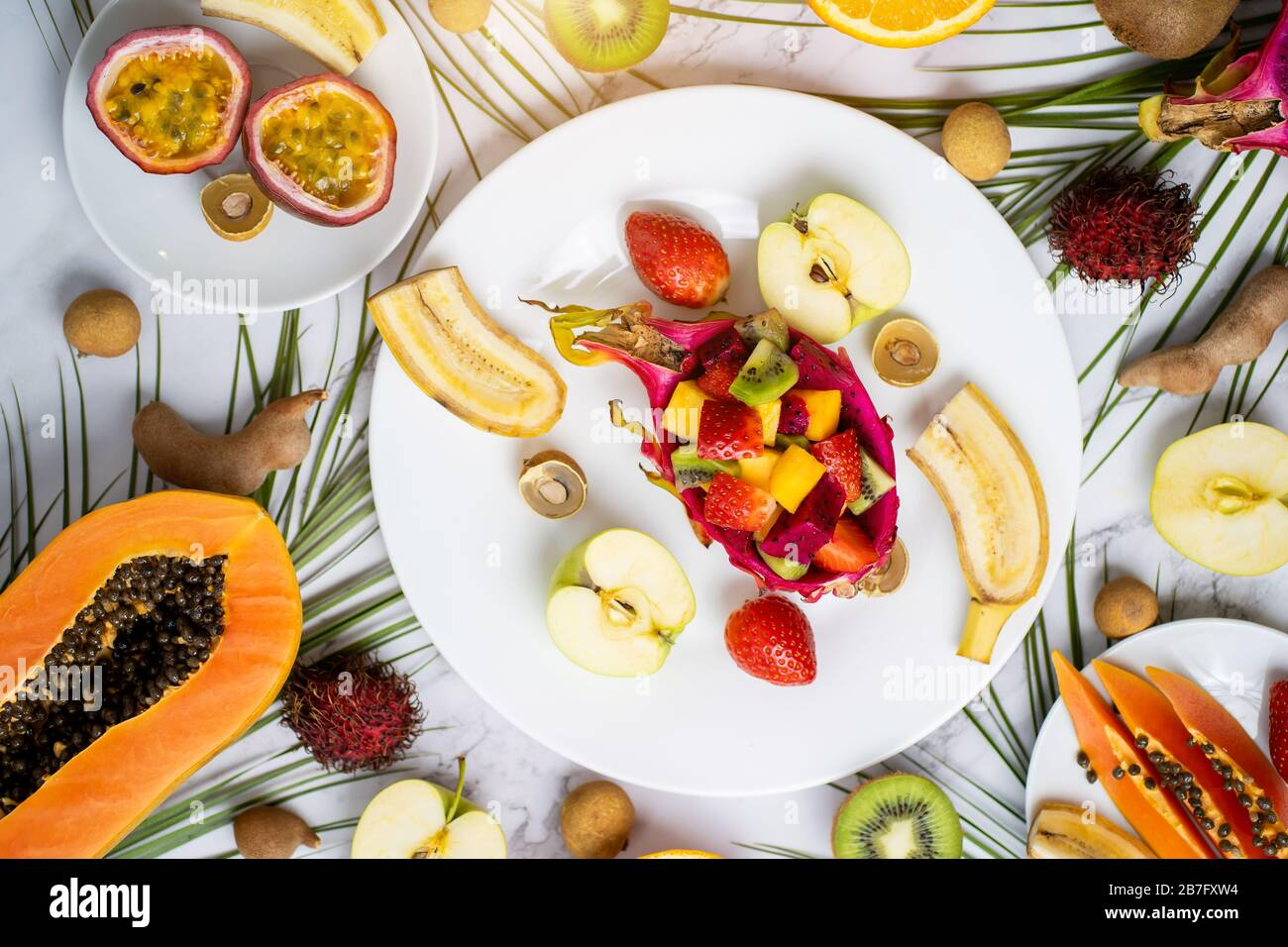 Healthy Breakfast From Tropical Exotic Ripe Juicy Fruits On Plates On Table Delicious Snack Travel Vacation Vitamins Summer Concept Top View Fl Stock Photo Alamy