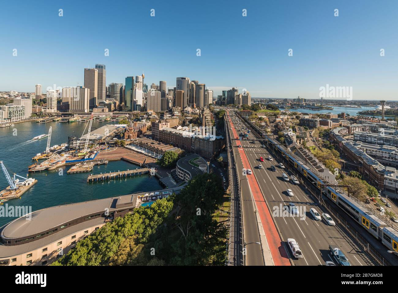 Sydney, Australia, Circular Quay, Traffic and Cityscape, from Harbour Bridge Stock Photo
