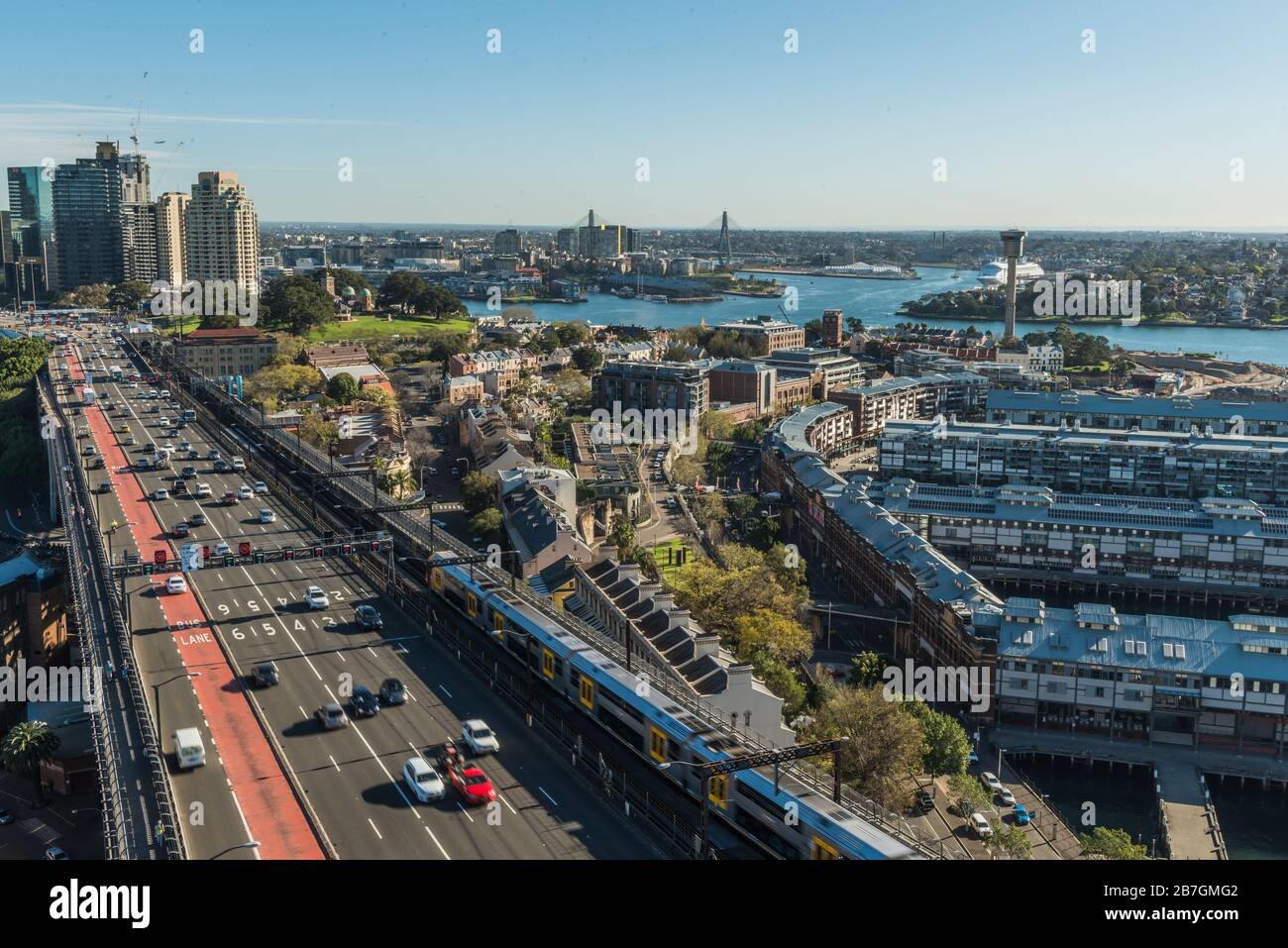 Sydney, Australia, Circular Quay, Traffic and Cityscape, from Harbour Bridge Stock Photo