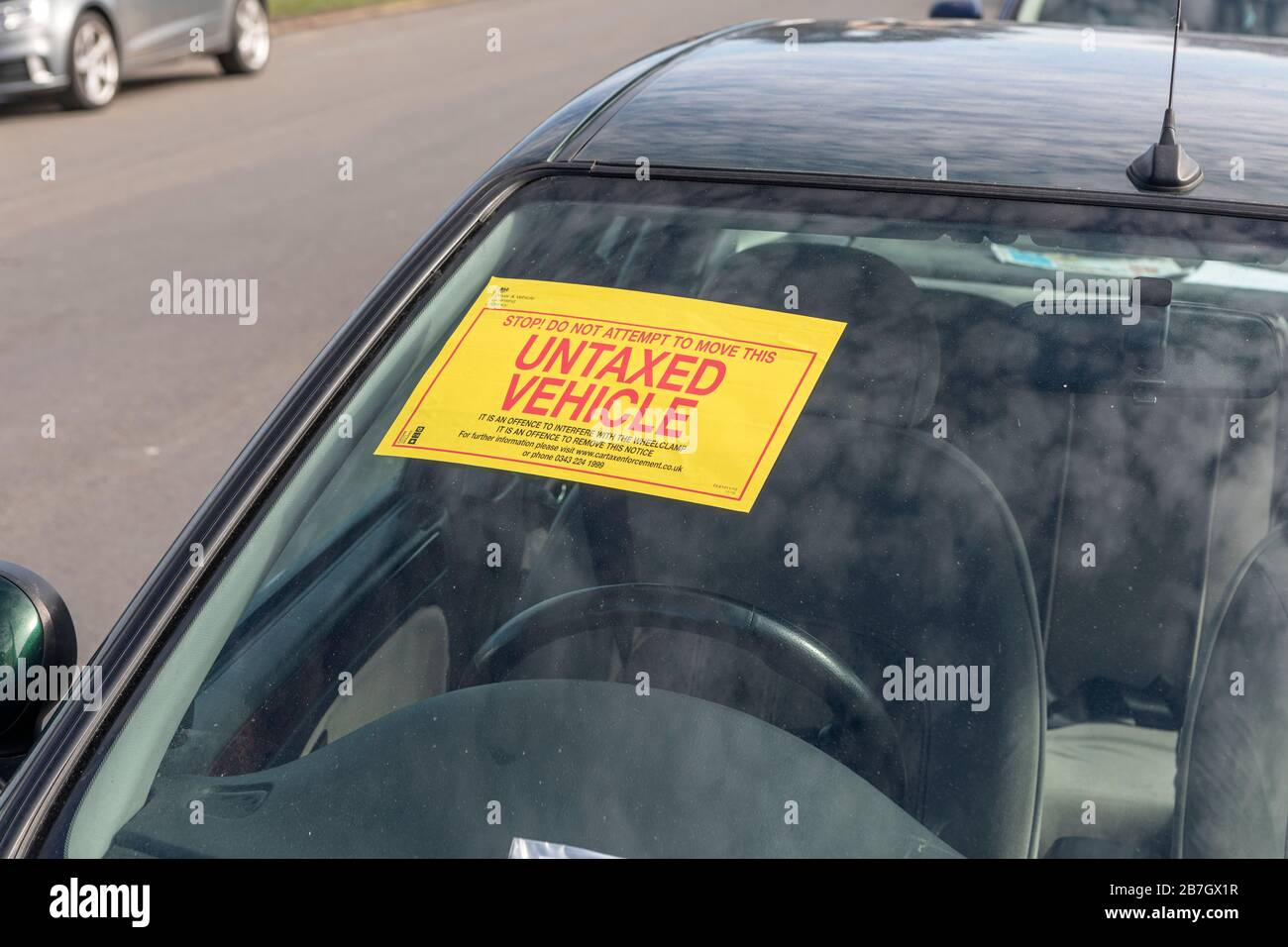 An untaxed vehicle sign. Stock Photo