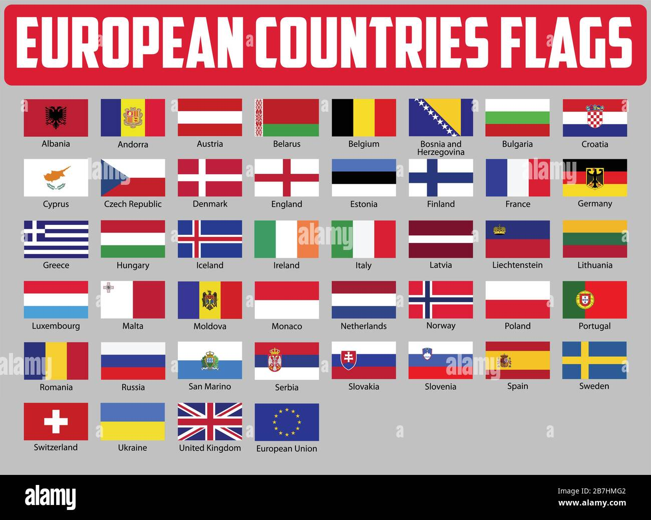 Europe Countries National Flags  All European Flags Stock