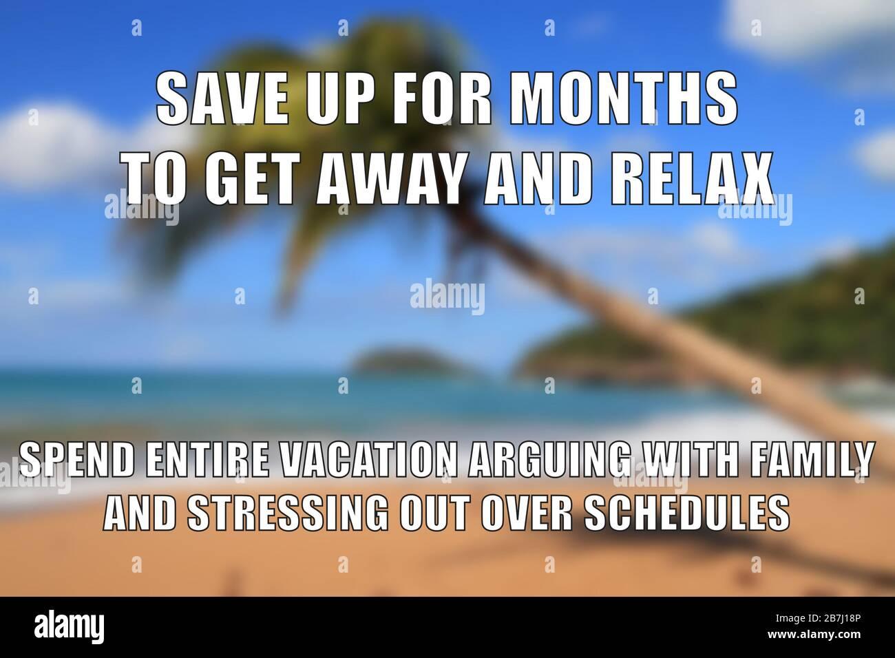 Vacation Stress Funny Meme For Social Media Sharing Beach Memes