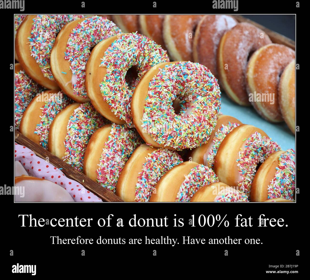 Funny Meme For Social Media Sharing Healthy Food And Donuts Meme Stock Photo Alamy