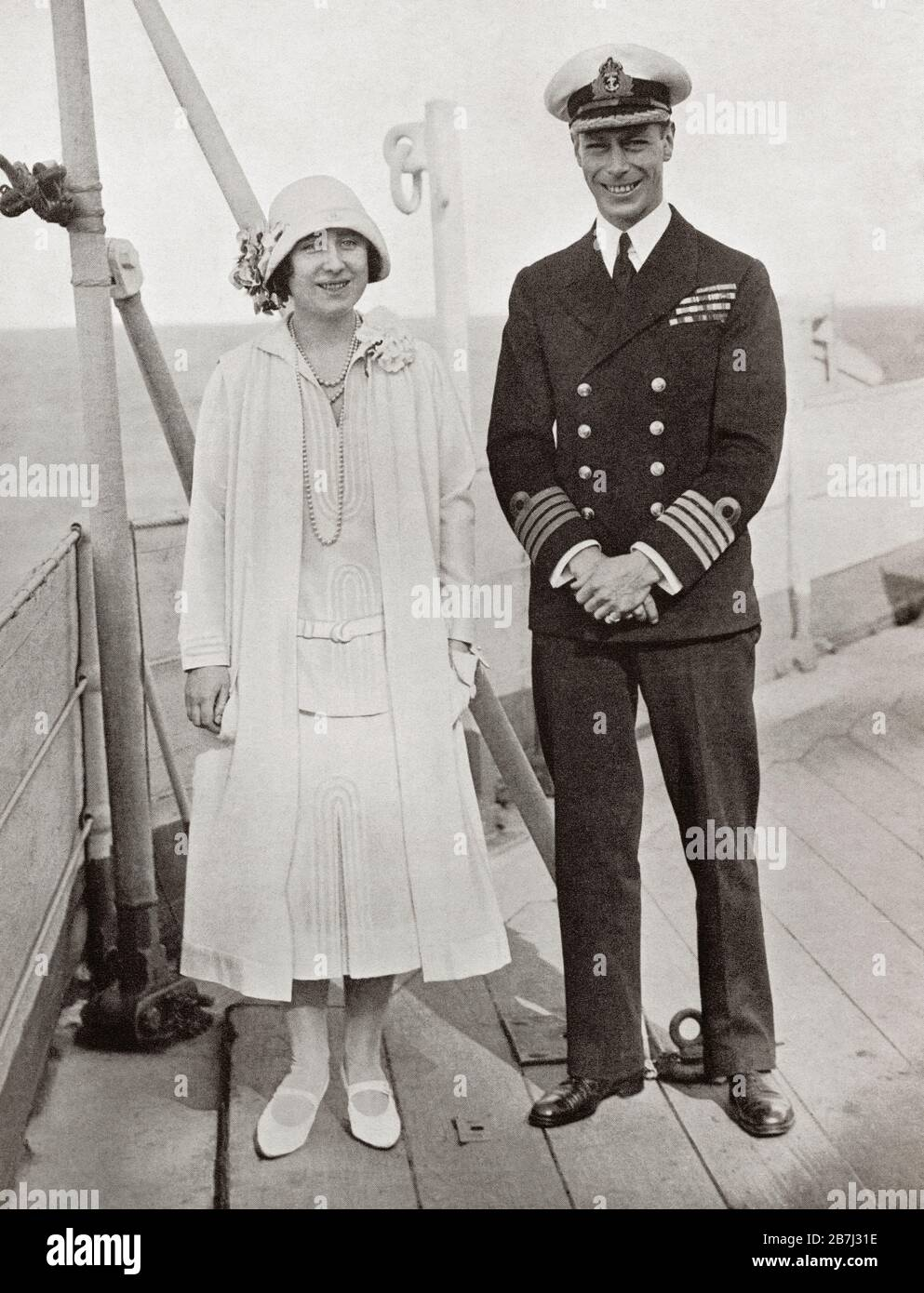 The Duke and Duchess of York aboard the H.M.S. Renown in 1927.  Prince Albert Frederick Arthur George, Duke of York, future George VI, 1895 – 1952.  King of the United Kingdom and the Dominions of the British Commonwealth. Duchess of  York, future Queen Elizabeth, The Queen Mother.  Elizabeth Angela Marguerite Bowes-Lyon, 1900 – 2002.  Wife of King George VI and mother of Queen Elizabeth II.  From King George the Sixth, published 1937. Stock Photo