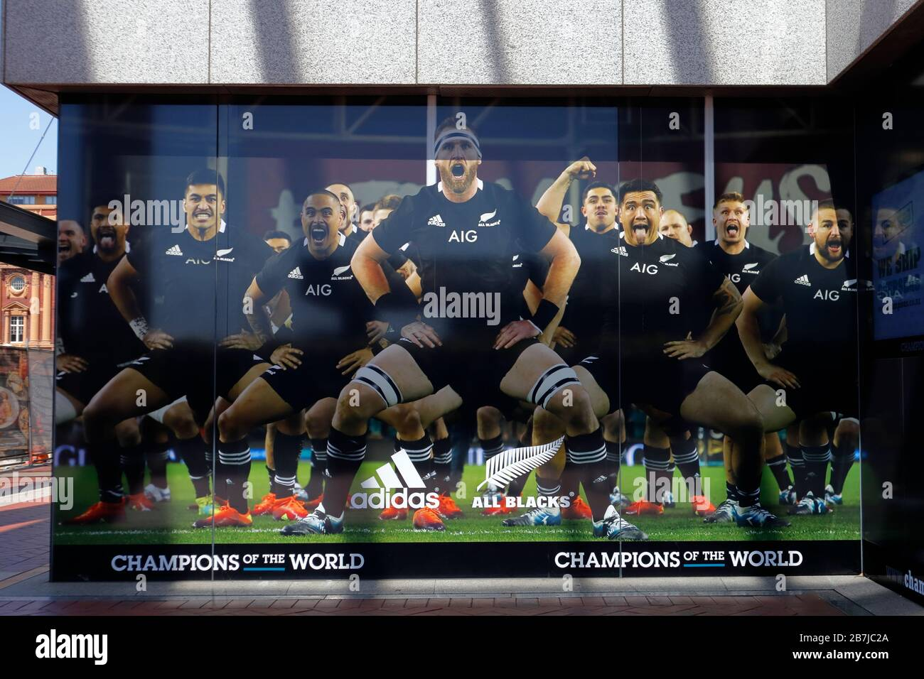 New Zealand national rugby team All Blacks performing the traditional haka. Billboard poster in Auckland, New Zealand during the 2019 Rugby World Cup Stock Photo