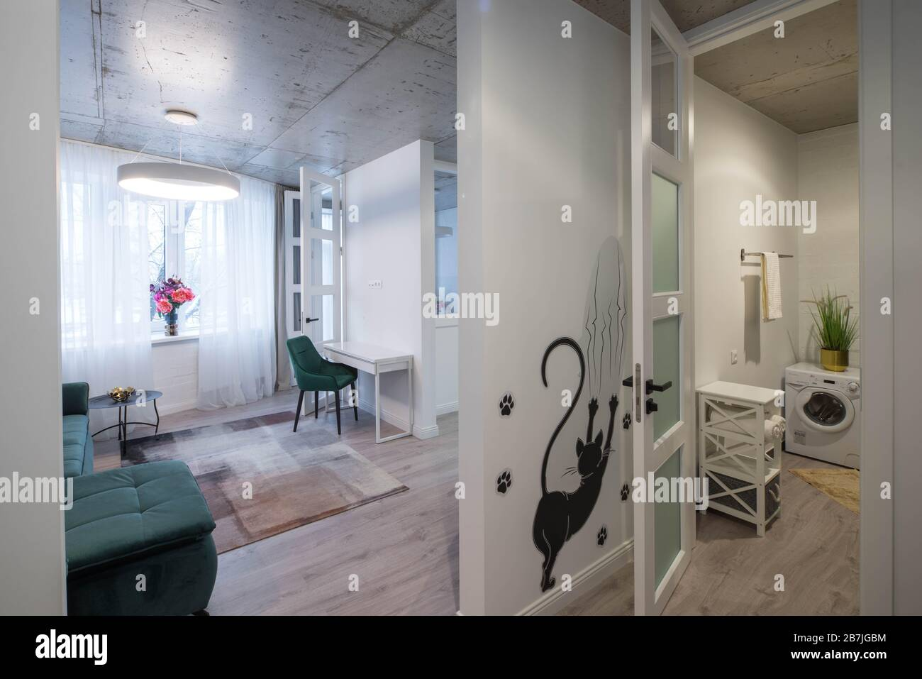 Modern Luxury Interior Of Apartment Living Room And Bathroom Private House Stock Photo Alamy