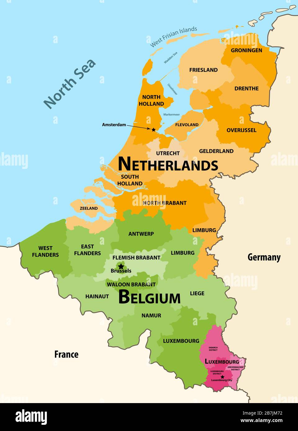 Vector Regions Map Of Benelux Countries Belgium Netherlands And Luxembourg With Neighbouring Countries And Territories Stock Vector Image Art Alamy