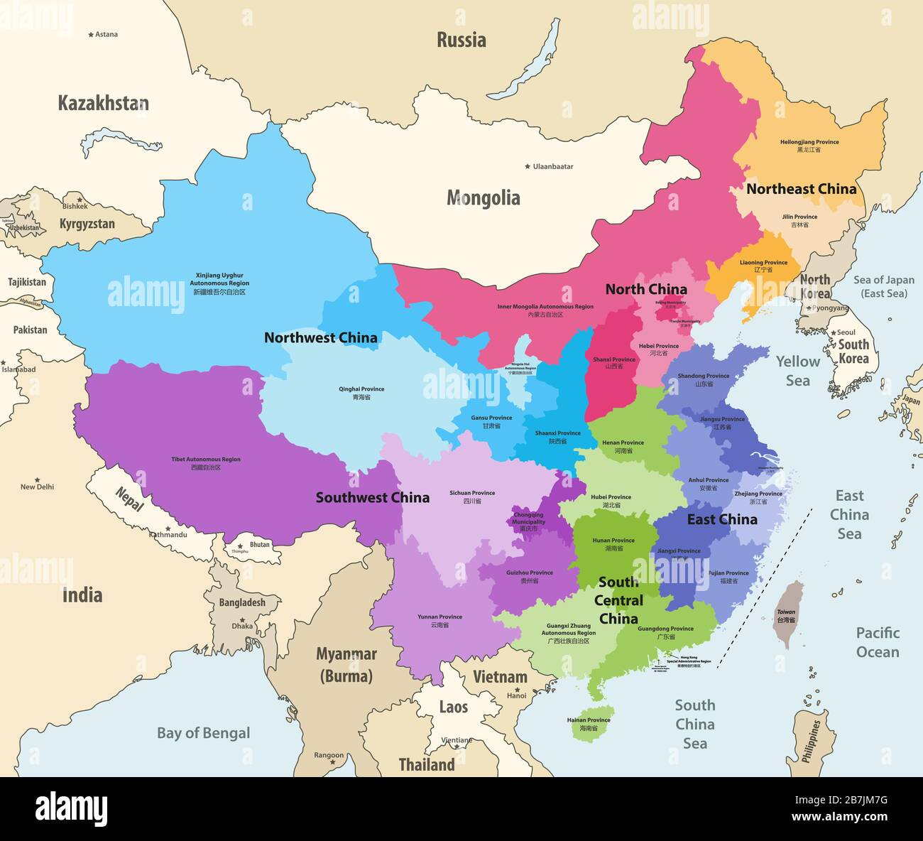 map of china and its surrounding countries Vector Map Of China Provinces Chinese Names Gives In Parentheses map of china and its surrounding countries