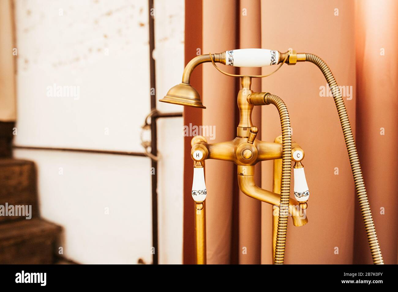 Old Vintage Gold Faucet For Hot And Cold Bath Water And Shower Handle Stock Photo Alamy