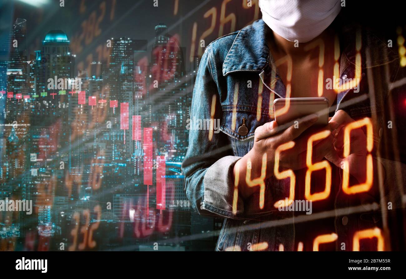 Tourism problem economy form corona virus outbreak concept. A tourist woman with business stock graph down. She paranoid world of economy finance stoc Stock Photo