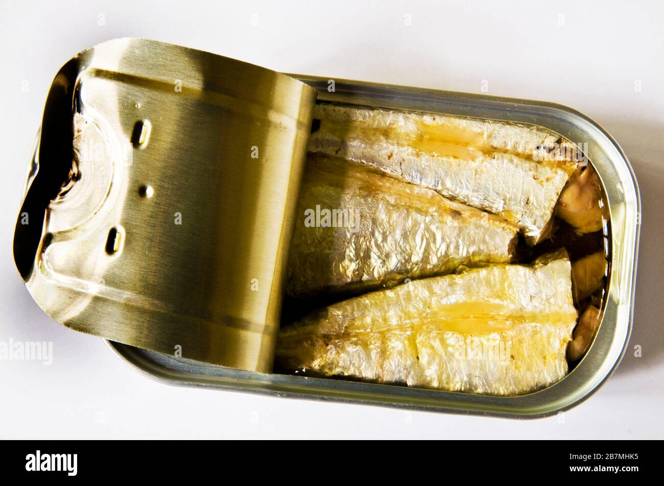 Sardines are a nutrient-rich small fish and a a source of omega-3 fatty acid. They are commonly served in cans. Stock Photo