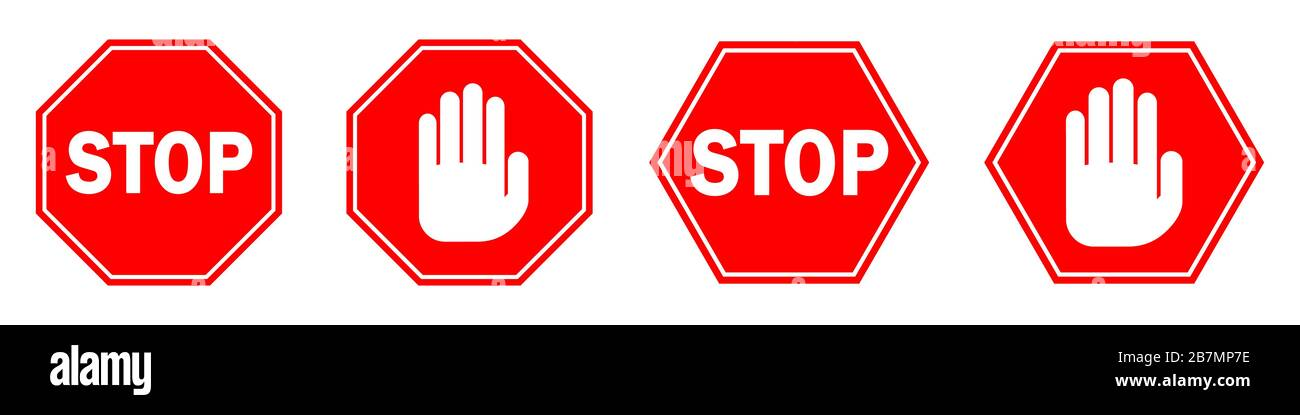 The Best Icon Red Hand Stop Sign Background
