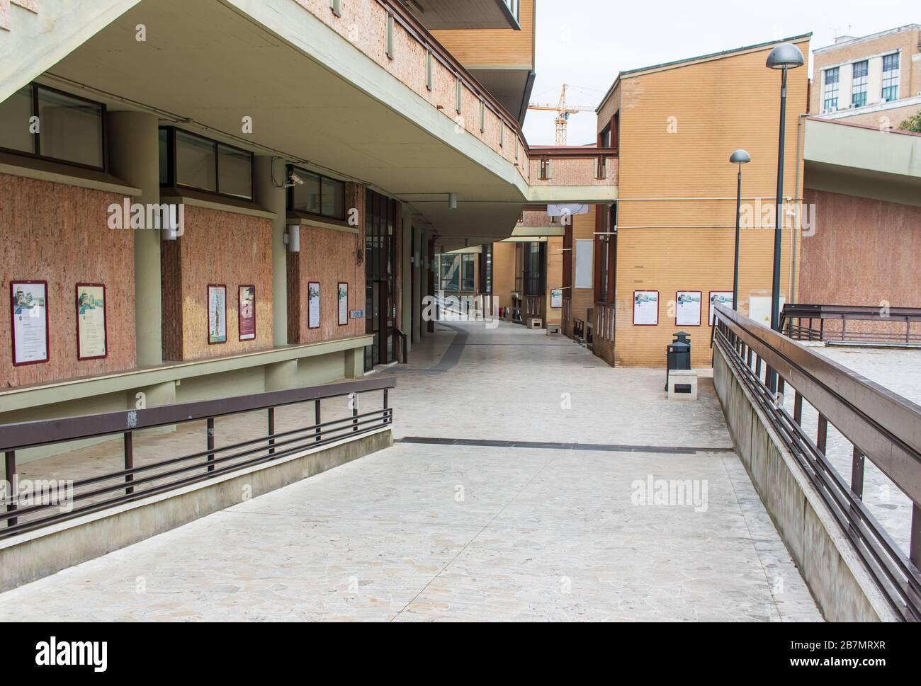 Following the coronavirus outbreak, the italian Government has decided for a massive curfew. Here in particular the empty Università la Sapienza Stock Photo