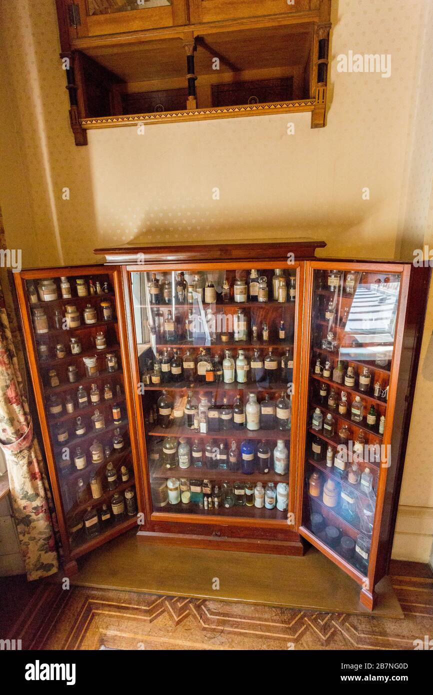 A Vintage Medicine Cabinet With Vintage Medicines At Tyntesfield House Nr Wraxall North Somerset England Uk Stock Photo Alamy