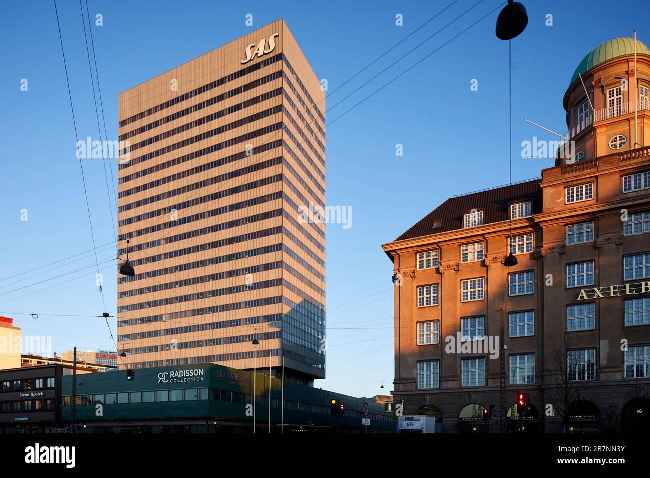 Copenhagen, Denmark's capital,  Danish luxury hotel SAS Radisson Collection Hotel, Royal Copenhagen renowned architect Arne Jacobsen Stock Photo