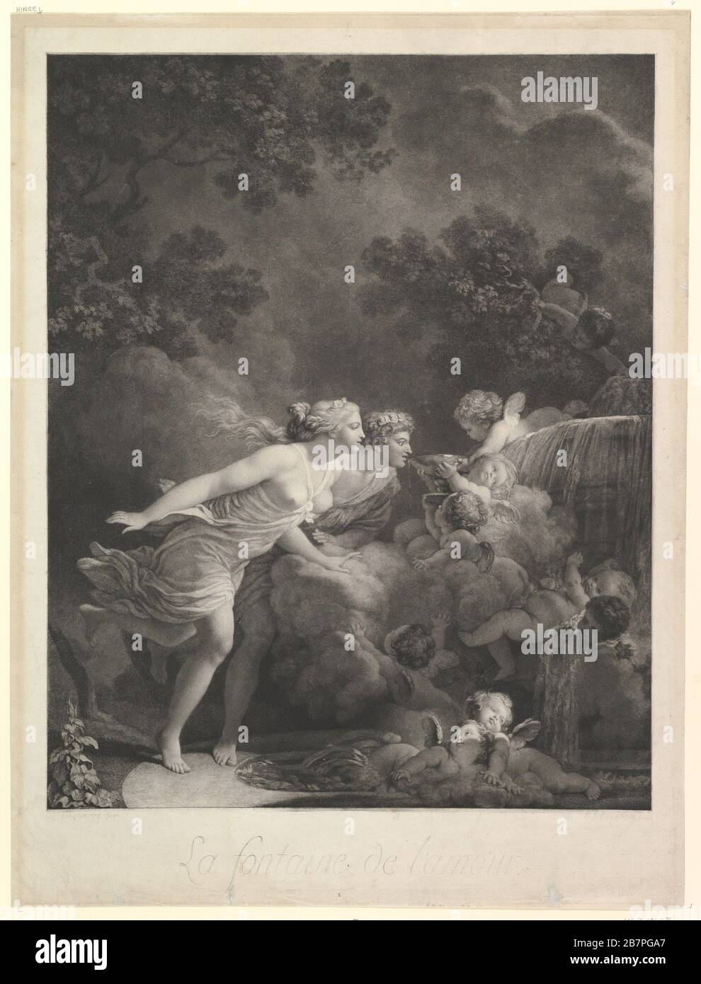La Fontaine d'Amour, 1785. (The Fountain of Love). Engraved by Nicholas Francois Regnault Stock Photo