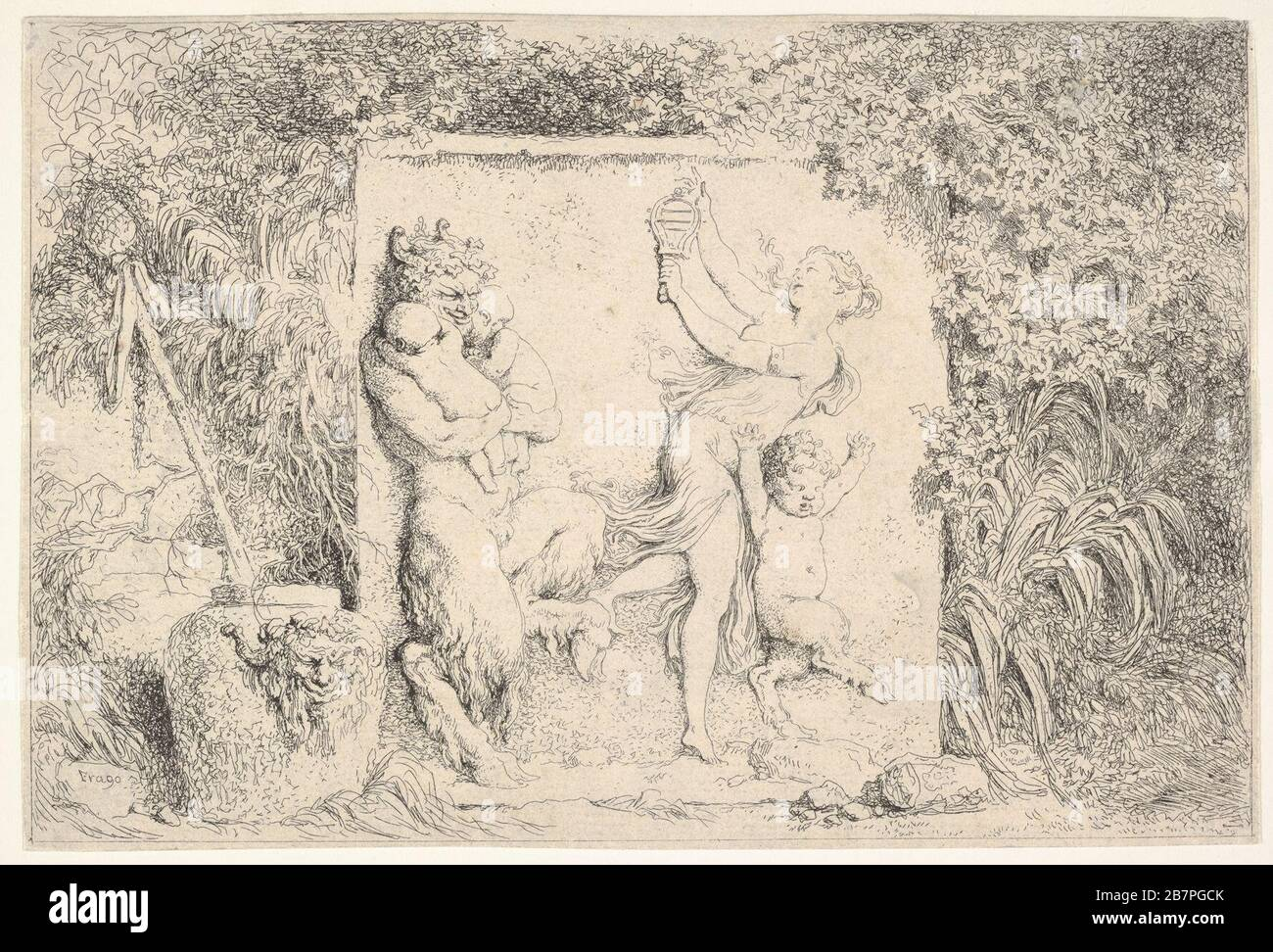 A bas-relief depicting a satyr at left holding two infants, another child satyr to right, dancing to the sound of the sistrum played by the woman in center, around the relief, a vase decorated with the head of a satyr, plants, and a thyrsus, from 'Four Bacchanalia' (Quatre Bacchanales), 1763. Stock Photo