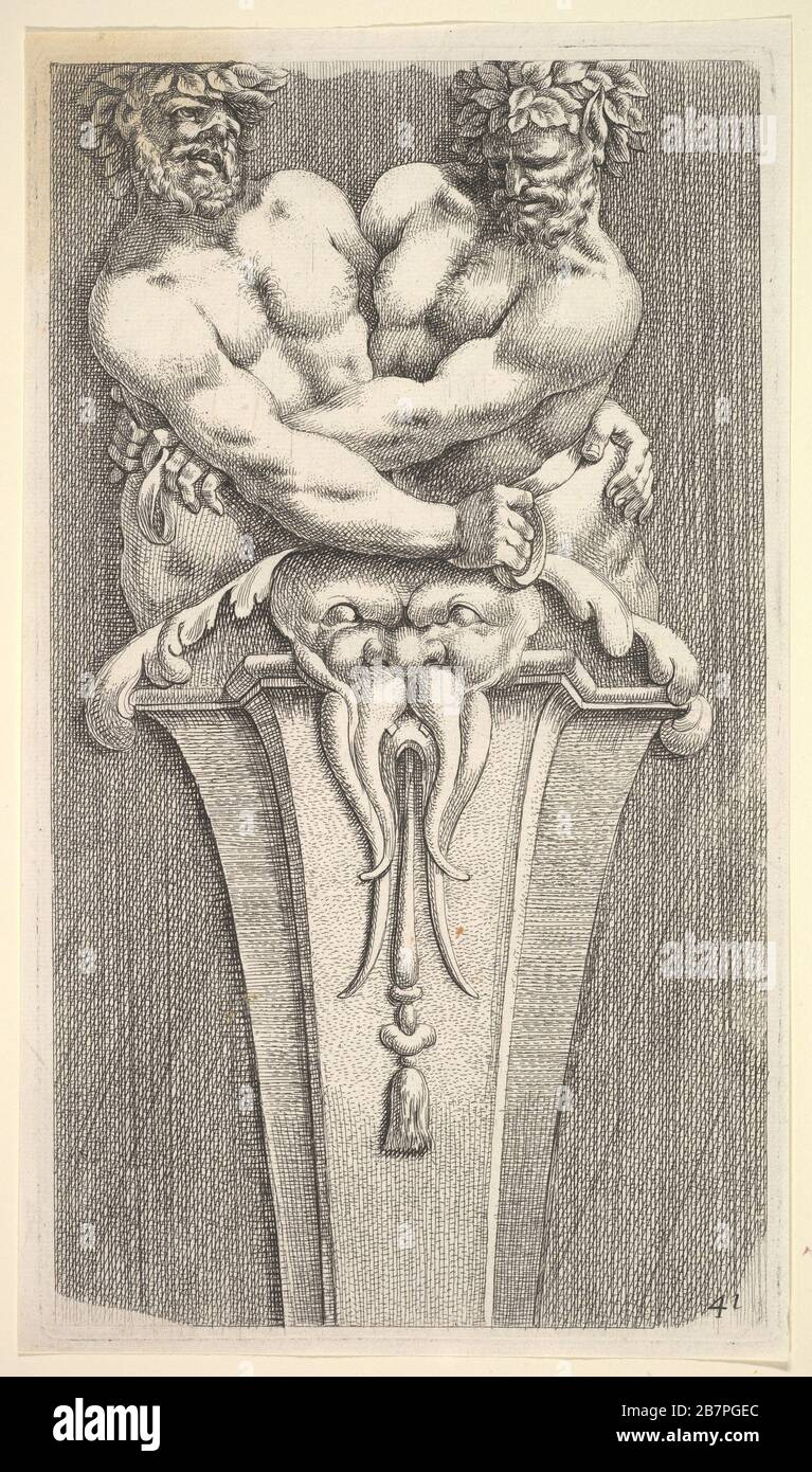Design for a Term with Two Bacchic Figures, from: Curieuses recherches de plusieurs beaus morceaus d'ornemens antiques et modernes (...), 1645. After Adam Philippon Stock Photo