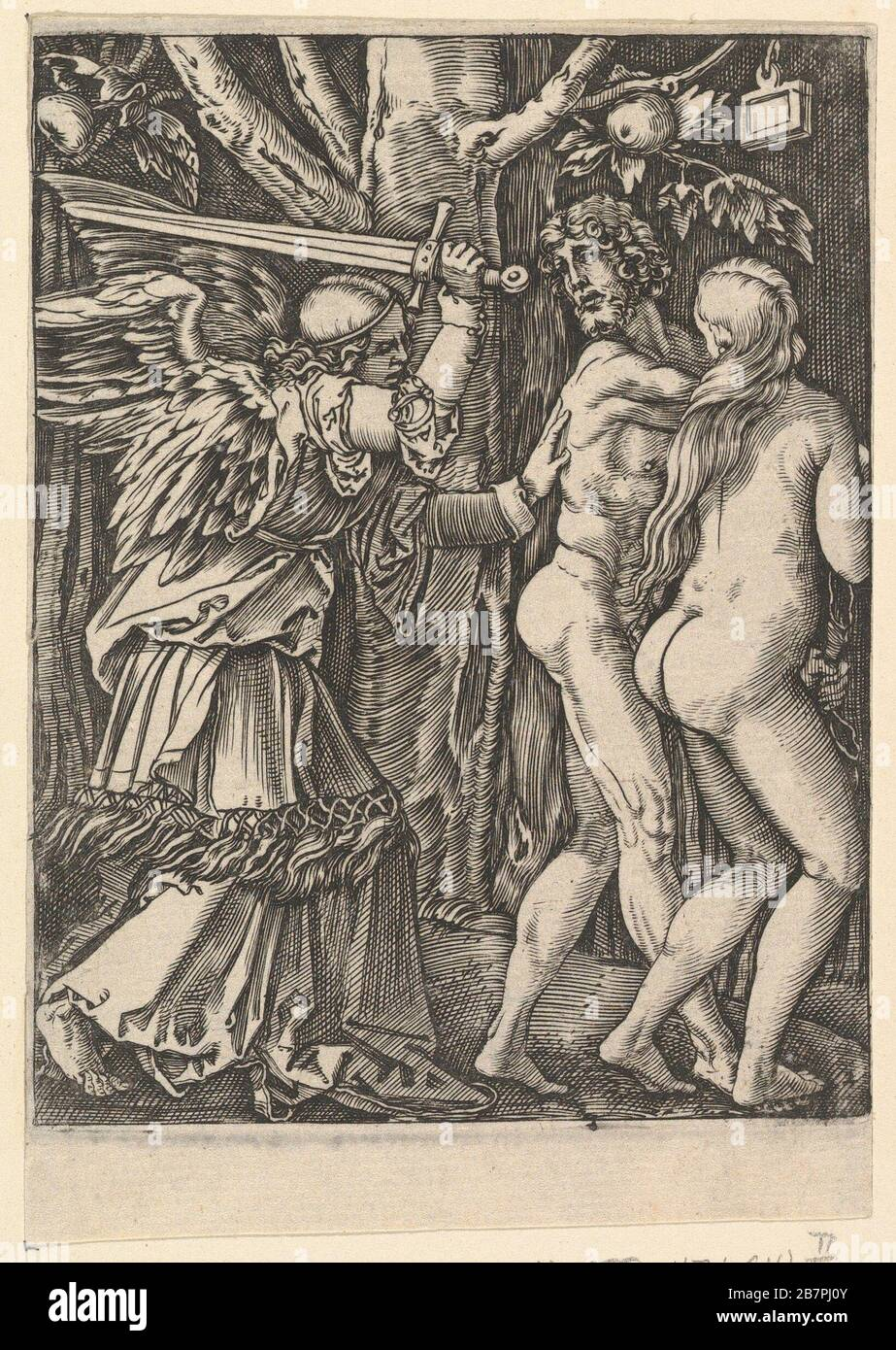The Expulsion from the Paradise, after Dürer, ca. 1500-1534. Stock Photo