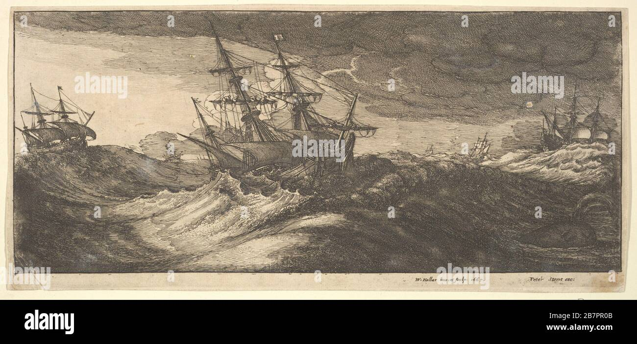 Warship and a spouting whale, 1665. Stock Photo