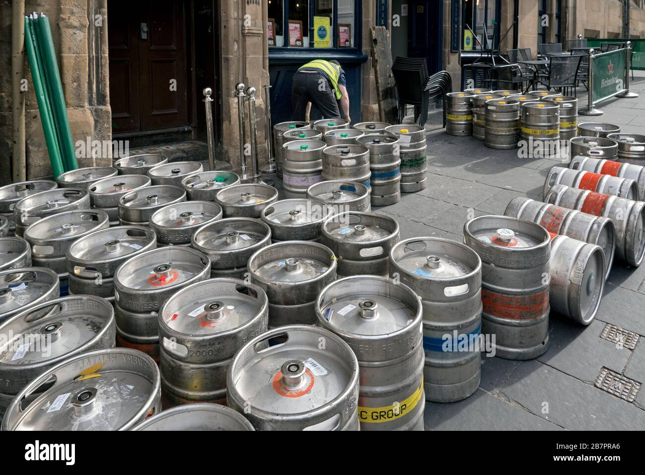 Kegs of beer being delivered to a public house on Cockburn Street, Edinburgh, Scotland, UK. Stock Photo